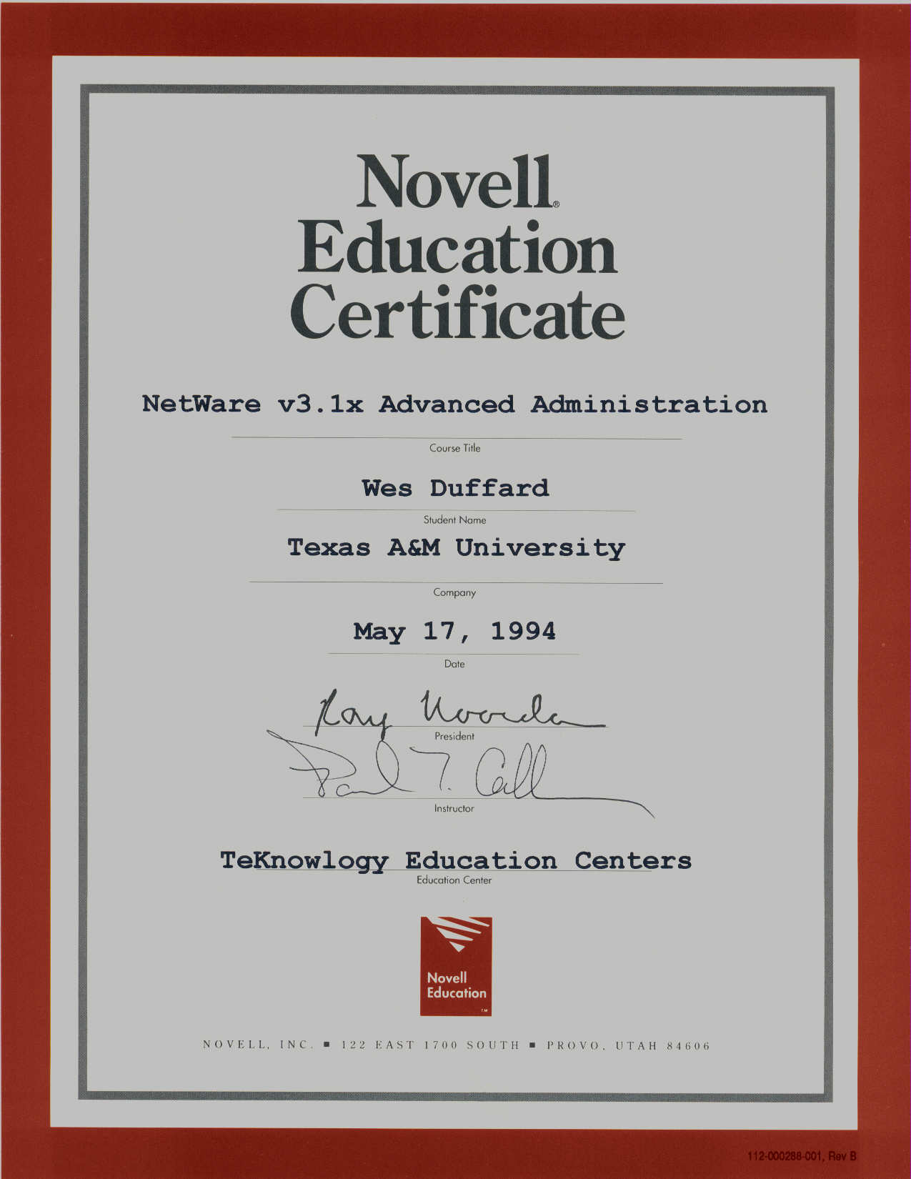 novell certificates training administration netware 1994 advanced education